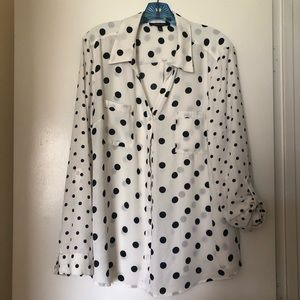 Tops - Navy and white polka dot top